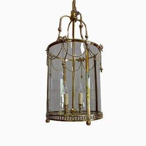 Plafonnier Lanterne Style Louis XVI 19ème Siècle en Verre et en Laiton