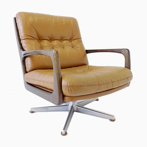 Caramel Color Leather Lounge Chairs by Eugen Schmidt for Soloform, 1960s, Set of 2