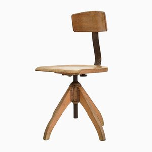 Silla Ama Elastik giratoria de madera ligera, años 30