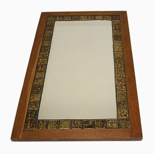 Large Mirror with Brown Tiles in Teak Wood