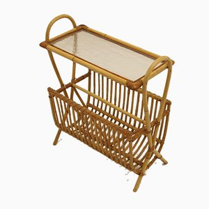 Vintage Bamboo Magazine Rack with Glass Plate