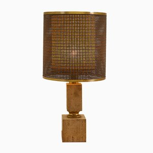 Italian Brutalist Travertine Table Lamp