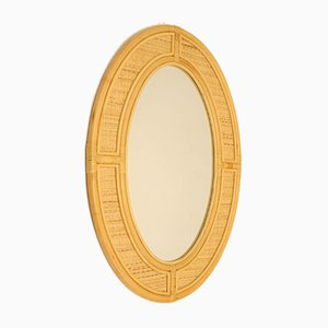 Large Vintage Bamboo Oval Wall Mirror