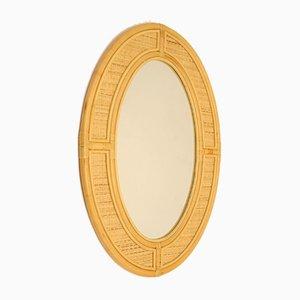Specchio a muro ovale grande vintage in bambù