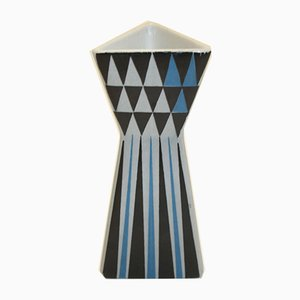 Model Polaris Nr. 6 Colored Triangle Vase in Blue, Grey & Black by Lars Thorén for Rörstrand, 1950s