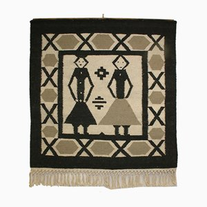 Danish Handwoven Black and White Tapestry or Wall Carpet, 1960s