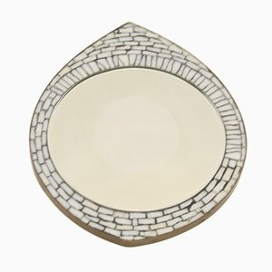 Eye Model Mosaic Wall Mirror with White Glass Stones, 1960s