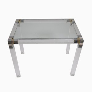 Plexiglass Table with Gold and Chrome Accents