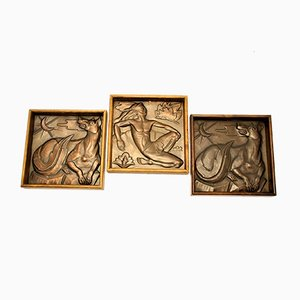 Art Deco Wall Plaques by Métiers D'Art of the Maredous Abby, Set of 3