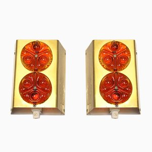 Scandinavian Metal Wall Lights with Orange Red Glass, Set of 2
