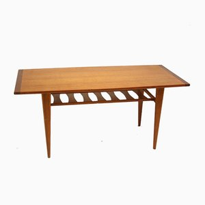 Danish Teak Coffee Table with Magazine Rack, 1960s
