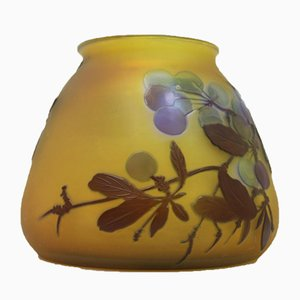 Art Nouveau Yellow Vase by Emile Gallé, France, 1920s