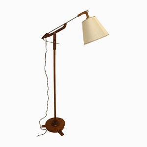 Teak Floor Lamp with Folding Arm