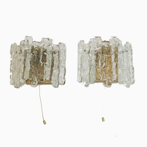 Ice Glass Wall Light with 2 Light Points by J.T. Kalmar, Austria, Set of 2