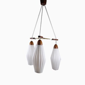 Danish Teak Hanging Lamp with Ribbed White Milk Glass Chalices, 1950s