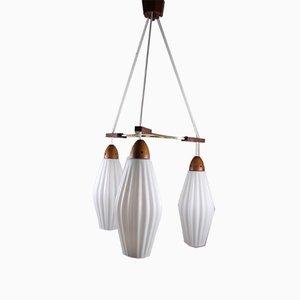 Lampe à Suspension en Teck avec Calices en Verre de Lait Blanc, 1950s