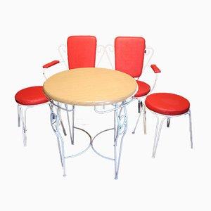 Rote Vintage Garten- oder Balkonbank, Stühle & Tisch Set, 4er Set