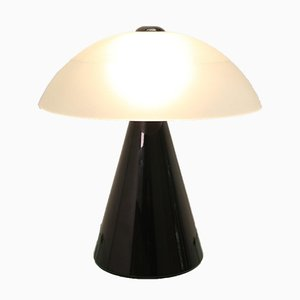 Mid-Century Black and White Murano Glass Table or Desk Lamp by F. Fabbian