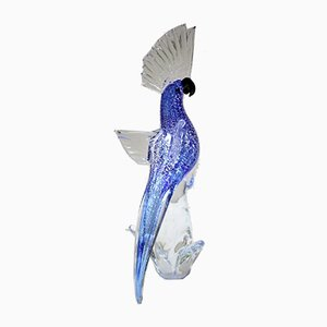 Murano Glass Silver Blue Parrot