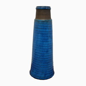 Scandinavian Terracotta Blue Vase by Nils Kahler for Kahler Keramik