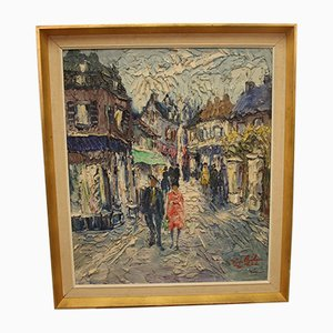 Vintage French Painting of a Street Scene, 1960s