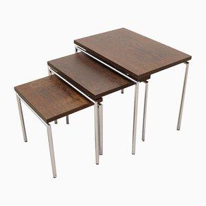 Dreiteiliges Mini Set aus Chrom und Wenge Holz
