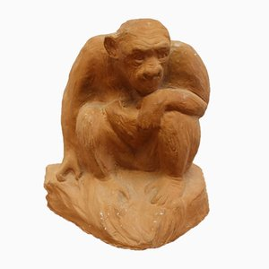 Large Terracotta Sitting Monkey