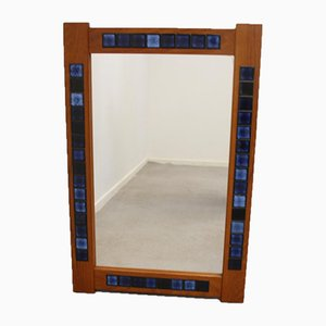 Teak Mirror with Blue Tiles by J. Holmer-Hansen