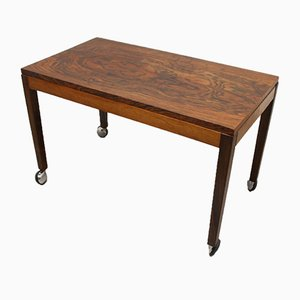 Rosewood End Table on Wheels