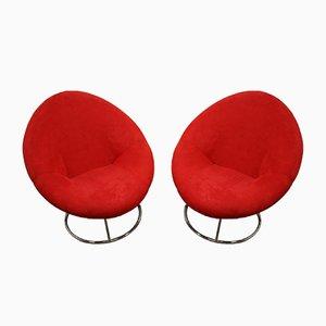 Butacas giratorias redondas en rojo. Juego de 2