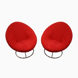 Round Red Swivel Armchairs, Set of 2