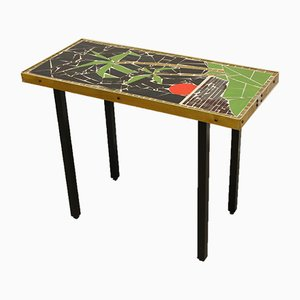 Glass Mosaic Plate Table with Palm Tree and Rising Sun, 1960s