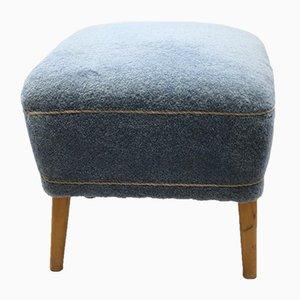 Blue Fabric Pouf, 1950s