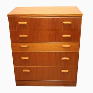 English Teak Chest of Drawers with 5 Drawers