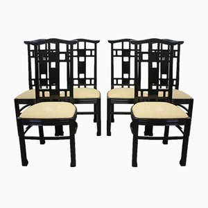 Japanese Style Black Lacquered Dining Chairs, 1970s, Set of 6