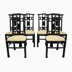 Sedie da pranzo in stile giapponese laccate nere, anni '70, set di 6
