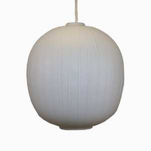 Large White Opeline Hanging Lamp with Lines on the Glass, 1960s