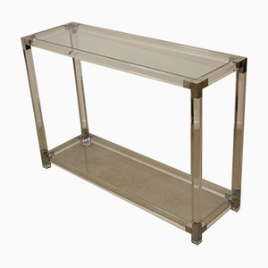 Plexiglass Side Table Lucite with Silver Corners