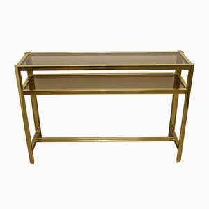 Large Golden Side Table with 2 Glass Plates in the Style of Pierre Vandel