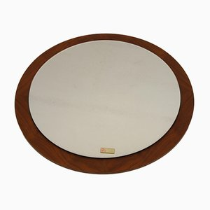 Large Round Scandinavian Mirror with Wooden Edge, 1960s