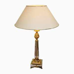 Hollywood Regency Plexiglass Table Lamp with Golden Elements