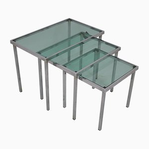 Chrome Nesting Tables with Blue Clear Glass