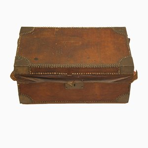 French Brown Leather Case with Copper Corners and Key