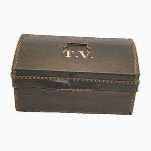 Französischer Koffer aus Leder mit Innenseite aus Holz