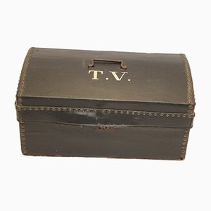 French Leather Suitcase with Wooden Inside