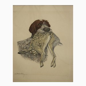 Large Print of Wire Hair with Hare in its Mouth by Loen Danchin