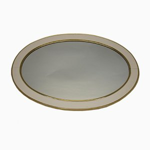 Large Oval Wall Mirror with White and Gold Border
