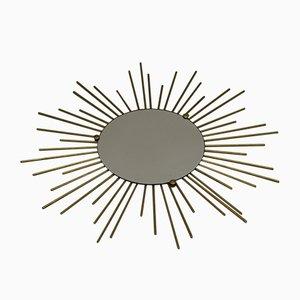 French White Metal Solar Mirror, 1950s