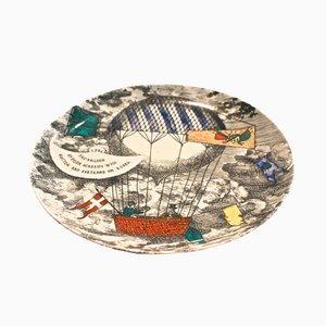 Hot Air Balloon Design Plate from Piero Fornasetti, 1955