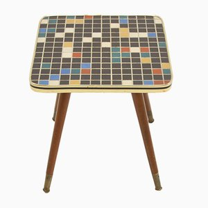Vintage Plant Table with Mosaic Tile Top 4 Sides